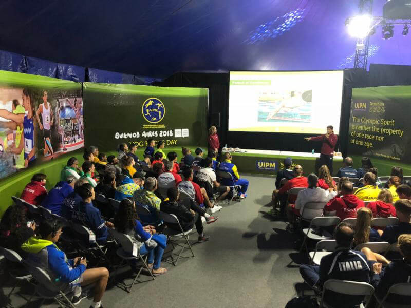 Athletes role models Yane Marques (BRA) and Charles Fernandez (GUA) speaking during Focus Day